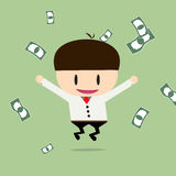 Happy businessman with cheques on a large sum. Profit, bonus, in Royalty Free Stock Image