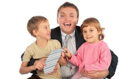 Happy businessman with children Royalty Free Stock Images