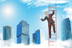 Happy businessman climbing ladder in sky Royalty Free Stock Images