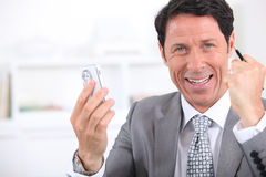 Happy businessman close-up Royalty Free Stock Image