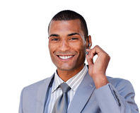 A happy businessman in communication Royalty Free Stock Photos