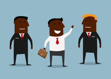Happy businessman and confident bodyguards Royalty Free Stock Photo