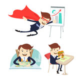 Happy businessman counting money, flying, eating sandwich. Vector illustration Happy business man hipster sitting at the table and counting money, Office Royalty Free Stock Photo