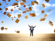 Happy man and books. Happy businessman and 3d flying books Stock Images