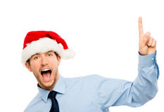 Happy businessman dancing excited about Christmas bonus portrait Stock Images