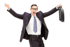 Happy businessman dancing Stock Photo