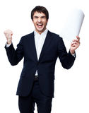 Happy businessman with document Stock Photography
