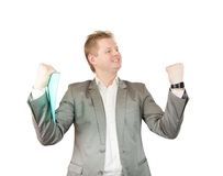 Happy  businessman with documents Royalty Free Stock Images