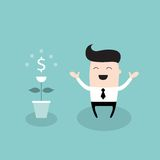 Happy businessman with dollar plant Growing money tree successful business concept. Vector illustration Royalty Free Stock Photo