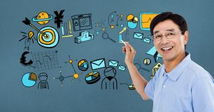 Happy businessman drawing graphics on screen Stock Images