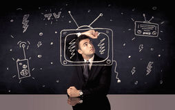 Happy businessman drawing tv and radio Royalty Free Stock Image