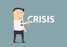 Happy businessman erasing the word crisis. Successful and happy cartoon businessman wiping off the word Crisis by a sponge. Crisis management theme design Stock Photos