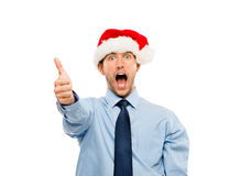 Happy businessman excited about Christmas bonus portrait isolate Stock Photos