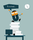 Happy businessman finish his work on time Stock Photo