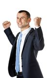 Happy businessman with fists up Royalty Free Stock Photo