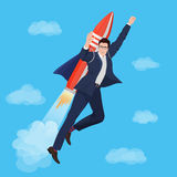 Happy Businessman flying with rocket backpack. Vector illustration. Stock Photos