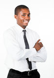 Happy businessman with folded arms. Happy Afro-American businessman with folded arms smiling at the camera Stock Photos