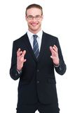 Happy businessman gesturing with his hands Stock Images