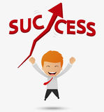 Happy businessman get success cartoon Royalty Free Stock Photos