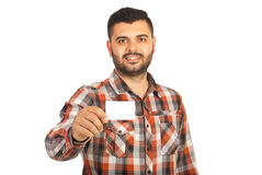 Happy businessman giving blank card Royalty Free Stock Images