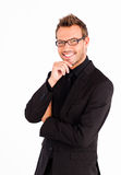 Happy businessman with glasses Royalty Free Stock Photos