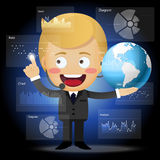 Happy businessman with globe working with data processing Royalty Free Stock Photos