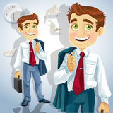 Happy businessman is going home after a long day Royalty Free Stock Images