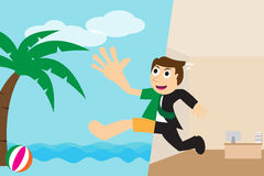 Happy businessman going to relax on the beach for vacation Royalty Free Stock Image