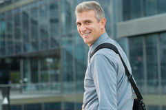 Happy Businessman Going To Work Stock Photography