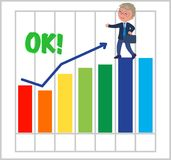Happy businessman with good bar chart Stock Photography