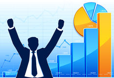 Happy businessman. With growing charts Royalty Free Stock Photos