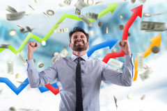 Happy businessman with growth exponential gain statistics royalty free stock photography
