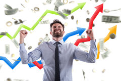 Happy businessman with growth exponential gain statistics stock photos