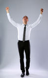 Happy businessman with hands raised up Royalty Free Stock Images