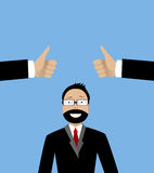 Happy businessman and  hands with thumbs up. Royalty Free Stock Photo