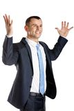 Happy businessman with hands up Royalty Free Stock Images