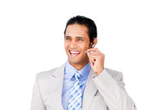 Happy businessman with headset on Royalty Free Stock Photos
