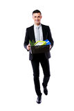 Happy businessman hold box with personal belongings Stock Photos