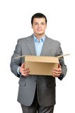 Happy businessman hold empty cardboardbox Royalty Free Stock Photos