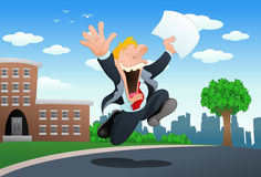 Happy businessman hold paper Stock Images