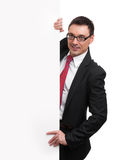 Happy Businessman Holding Blank Billboard Royalty Free Stock Photography