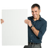 Happy Businessman Holding A Blank Sign Royalty Free Stock Photography