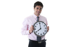Happy Businessman Holding Clock Royalty Free Stock Photography