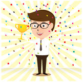 Happy Businessman holding the cup in front Stock Image