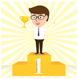 Happy Businessman holding the cup in front Stock Photo