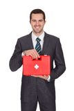 Happy Businessman Holding First Aid Box. Happy Businesswoman Holding First Aid Box. Isolated On White Stock Photos