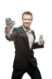 Happy businessman holding money Stock Photography