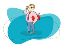 Happy businessman holding phone and talking Royalty Free Stock Photography