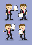 Happy Businessman Holding Placard Vector Cartoon Royalty Free Stock Image