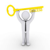 Happy businessman holding success-key. Happy 3d businessman is holding a golden key of success Royalty Free Stock Images